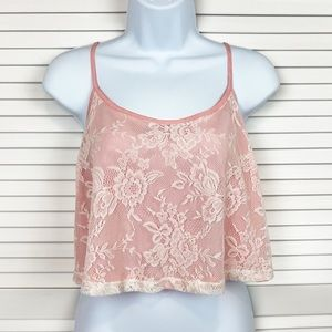Forever 21 Lace Cropped Pink Tank Size Large